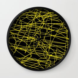 Black with yellow scribbling lines, happy yellow art, less is more Wall Clock