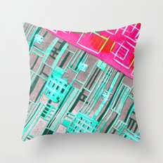 Abstract Woodcut #1 in Pink and Aqua Throw Pillow