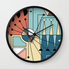 Colorful Mid Century Geometric Abstract Wall Clock
