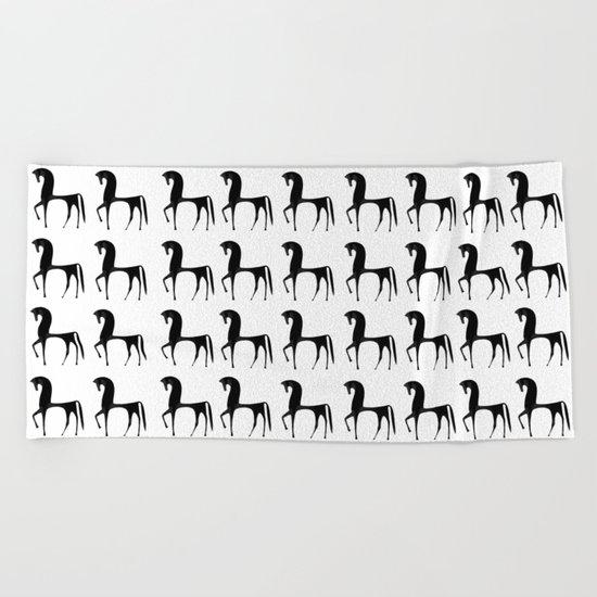 Black Horses Beach Towel
