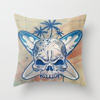 surfboard Throw Pillows featuring skull on surfboard background by Doomko