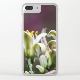 Closeup of Hesperaloe Parviflora Flower on Vivid Violet Background Clear iPhone Case
