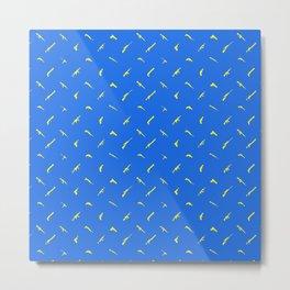 Guns Pattern Blue/Yellow Metal Print