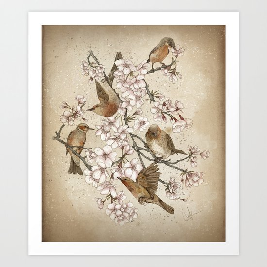 Too many birds Art Print