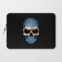 Dark Skull with Flag of El Salvador Laptop Sleeve