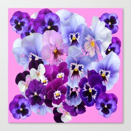 SPRING COLLECTION PURPLE-PINK PANSIES Canvas Print