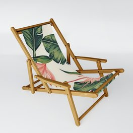 Palm Leaf & Flower Print Sling Chair