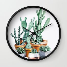 Potted Cacti Wall Clock
