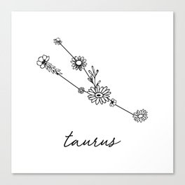 Taurus Floral Zodiac Constellation Canvas Print