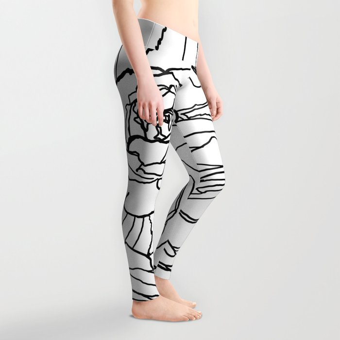 Feminine and Romantic Rose Pattern Line Work Illustration Leggings