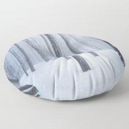 Foggy frozen winter forest Floor Pillow
