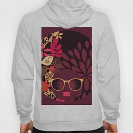 Afro Diva : Sophisticated Lady Deep Pink & Burgundy Hoody