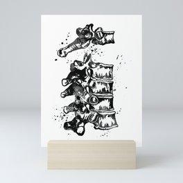 Thoracic Vertebrae Black and White Gift Mini Art Print