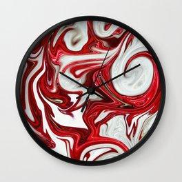 Red abstract liquid shapes Wall Clock