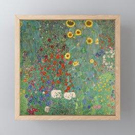 Farm Garden with Sunflowers - Gustav Klimt Framed Mini Art Print