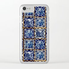 Blue Willow Tiles Clear iPhone Case