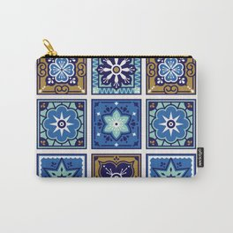 Talavera Mexican Tile – Navy & Bronze Palette Carry-All Pouch