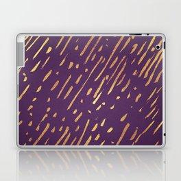 Dark Purple Gold Stripes Laptop & iPad Skin