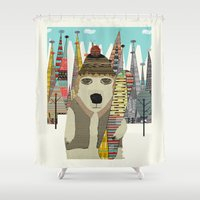 snowboarding Shower Curtains featuring murphy by bri.b