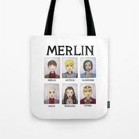 merlin Tote Bags featuring MERLIN by Space Bat designs