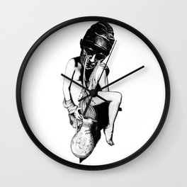 Aquarius - Zodiac series in black and white Wall Clock