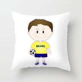 Football Copa Boy Brazil 2014 Throw Pillow