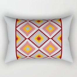 Turkish carpet blue gray pink orange. Patchwork mosaic oriental kilim rug Rectangular Pillow