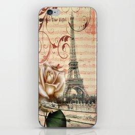 vintage chandelier white rose music notes Paris eiffel tower iPhone Skin