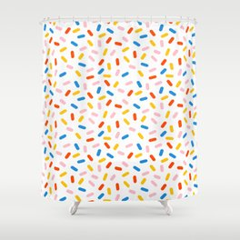 Livin' It - abstract pattern minimal modern primary colors pantone gender neutral retro throwback Shower Curtain