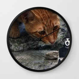 cat with pantomime confused Wall Clock