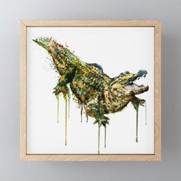 Alligator Watercolor Painting Framed Mini Art Print
