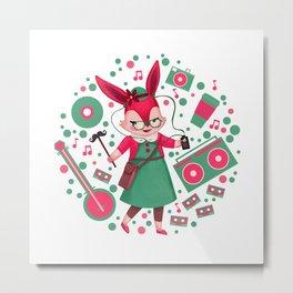 HipsterQueen Rabbit Metal Print