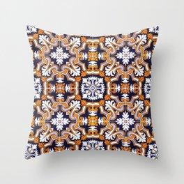 Portuguese Tiles Azulejos Blue Orange Pattern Throw Pillow