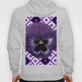 Purple & Black Pansy White Pattern Art Hoody