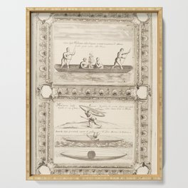 Vintage Print - Canoes of the Peoples of North America, from the Atlante Veneto (1692) Serving Tray
