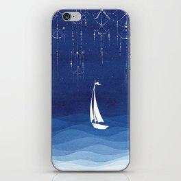 Garland of stars, sailboat iPhone Skin