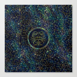 Cancer Zodiac Gold Abalone on Constellation Canvas Print