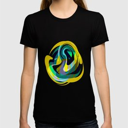 Orb, Abstract geometric Print in Blues Chartreuse & yellows T-shirt