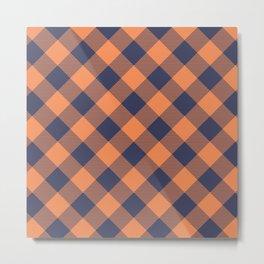 Denim Orange Gingham Metal Print
