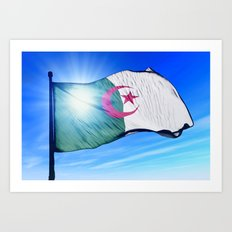 Algeria flag waving on the wind Art Print