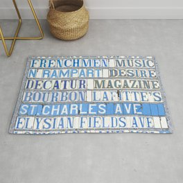 New Orleans Street Names Tile Art Word Typography Letters French Quarter Uptown Marigny Rug