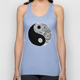 Black and White Lace Yin Yang Unisex Tank Top