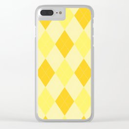 Yellow Argyle Pattern Clear iPhone Case