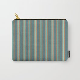 Retro Stripes Green and Orange Carry-All Pouch