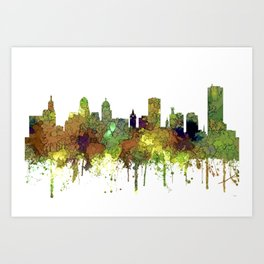 Buffalo, New York Skyline - SG Safari Buff Art Print