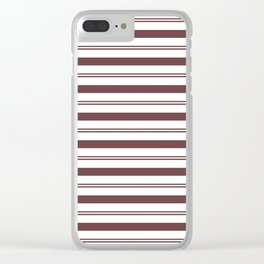 Pantone Red Pear and White Stripes, Wide and Narrow Horizontal Line Pattern Clear iPhone Case