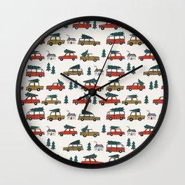 Christmas tradition christmas tree car drive home winter holidays Wall Clock