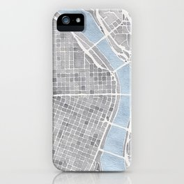 Portland Oregon watercolor city map art iPhone Case