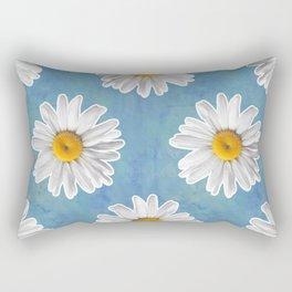 Daisy Blues - Daisy Pattern on Cornflower Blue Rectangular Pillow