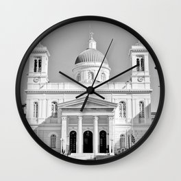 Church in Piraeus BW Wall Clock